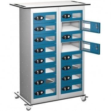 16 Door Tablet Storage Only Trolley with Vision Doors