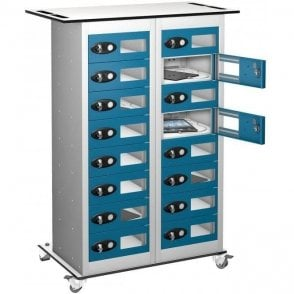 16 Door Tablet Store & Charge Trolley with Vision Doors