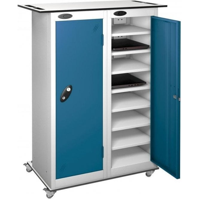 2 Door 16 Shelf Tablet Store & Charge Trolley