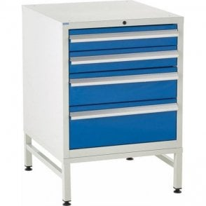 4 Drawer Under Bench Cabinets on Stands - 600mm Wide x 825mm High