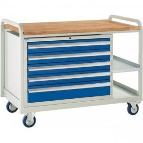 Euroslide Trolley - Beech Top with 5 Drawers - Kit 16 - 1270mm Wide x 960mm High
