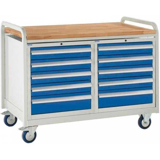 Euroslide Trolley - Beech Top with 5 Drawers - Kit 22 - 1270mm Wide x 960mm High