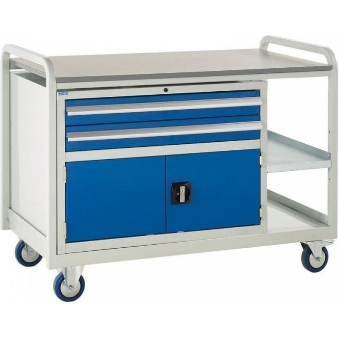 Euroslide Trolley - Laminate Top with 2 Drawers & Cupboard - Kit 12 - 1270mm Wide x 960mm High