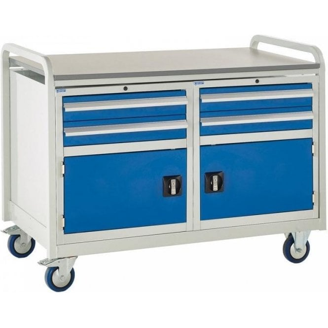 Euroslide Trolley - Laminate Top with 2 Drawers & Cupboard - Kit 18 - 1270mm Wide x 960mm High