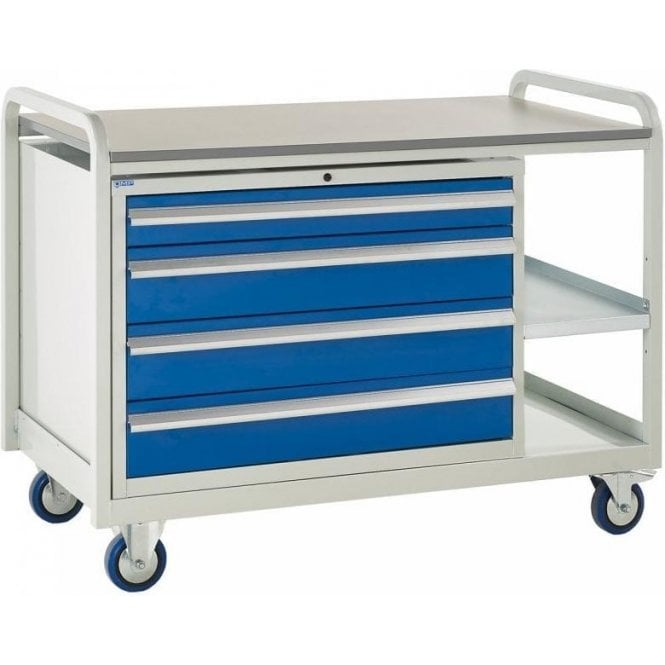 Euroslide Trolley - Laminate Top with 4 Drawers - Kit 14 - 1270mm Wide x 960mm High