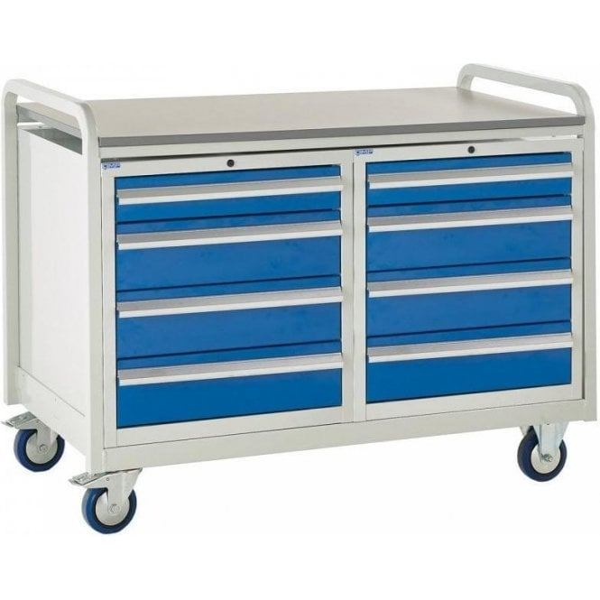 Euroslide Trolley - Laminate Top with 4 Drawers - Kit 20 - 1270mm Wide x 960mm High