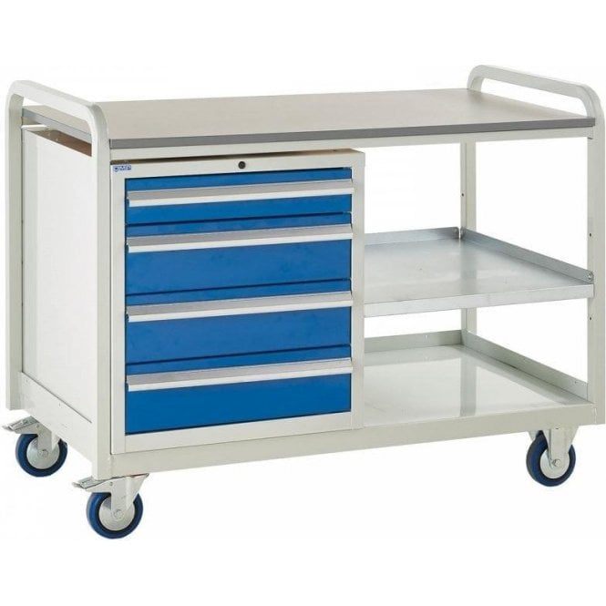 Euroslide Trolley - Laminate Top with 4 Drawers - Kit 8 - 1270mm Wide x 960mm High