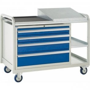Euroslide Trolley - Sloping Top with 4 Drawers - Kit 15 - 1270mm Wide x 960mm High