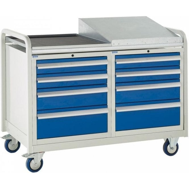 Euroslide Trolley - Sloping Top with 4 Drawers - Kit 21 - 1270mm Wide x 960mm High