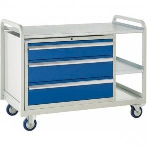 Euroslide Trolley - Steel Top with 3 Drawers - Kit 13 - 1270mm Wide x 960mm High