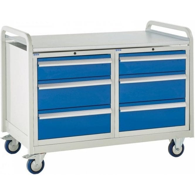 Euroslide Trolley - Steel Top with 3 Drawers - Kit 19 - 1270mm Wide x 960mm High