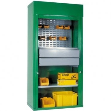 Heavy Duty Roller Shutter Cabinets - 2 Drawers, & 1/2 Louvred, 1 Shelf