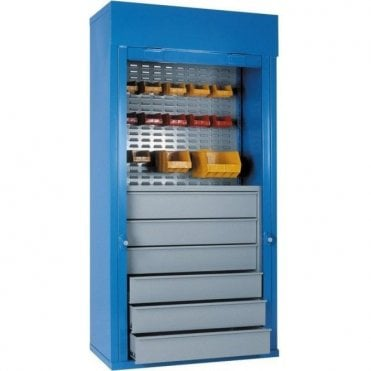 Heavy Duty Roller Shutter Cabinets - 6 Drawers, & 1/2 Louvred, 1 Shelf