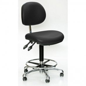 Industrial Upholstered, Fully Ergonomic High Chair, Adjustable Foot Rest
