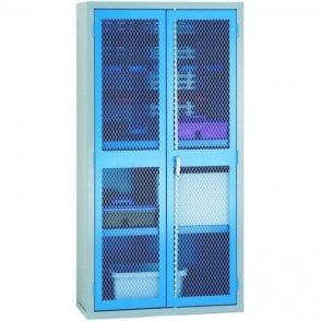 Mesh Door Cabinet - 1/2 Louvred 2 Shelves