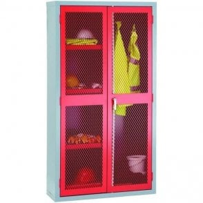 Mesh Door Cabinet - Centre divider hanging rail & 3 shelves