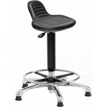 Posture Stool Chrome with Mini Back Rest & Foot Rest