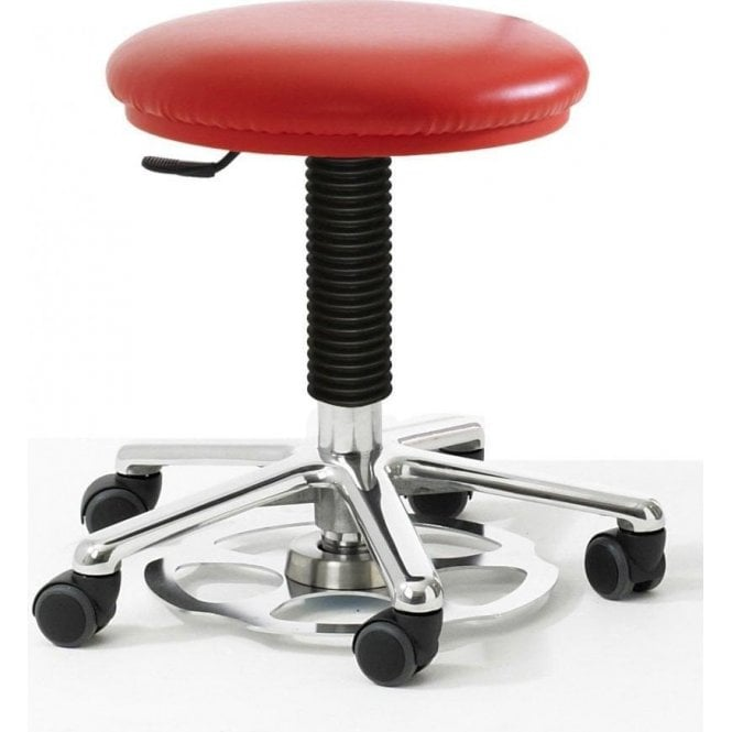 Round Stool with foot operated height adjustment
