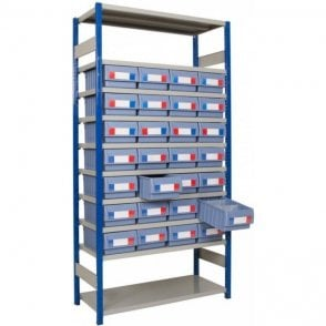 Shelf Trays on Expo 4 Shelving KIT D - Part Height Unit