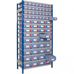 Shelf Trays on Expo 4 Shelving KIT E - Full Height Unit