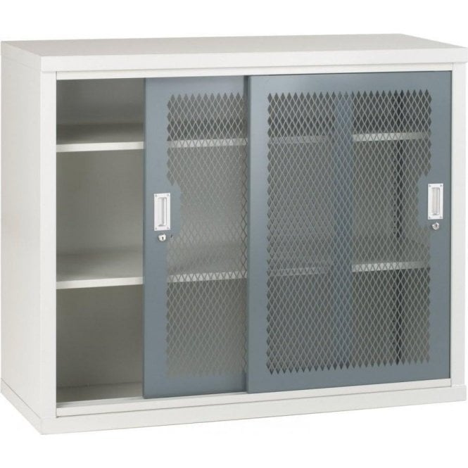 Sliding Mesh Door Cabinet - 2 Shelves