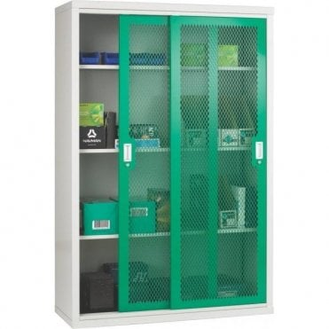 Sliding Mesh Door Cabinet - 3 Shelves