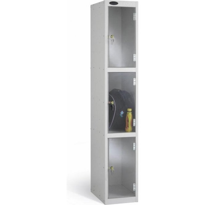 Three Compartment Clear Door Lockers
