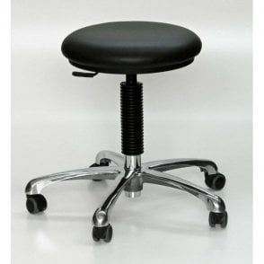 Upholstered Chrome Stool