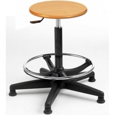 Wood High Stool with Adjustable Foot Rest